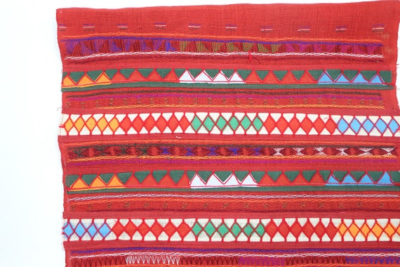 Red Color Patchwork Fabric Tribal Textile Crafts Etsy