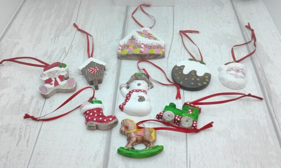 Ceramic Christmas Tree Decorations.Christmas Ceramic Decorations Christmas Tree Decorations Set Of 9 Christmas Decorations Beautiful Handpainted Christmas Decorations