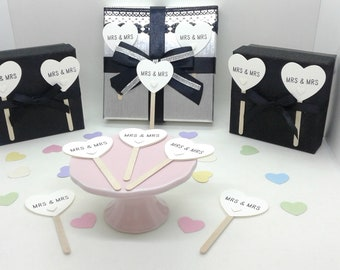 Wedding cupcake toppers. MRS & MRS cupcake decorations. Bride and Bride. Weddings. Civil partnerships. Quantities 25, 50, 75 and 100.