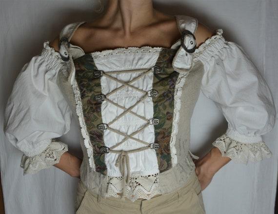 Vintage Dirndl Women Linen Corset Top Size M/40 P… - image 2