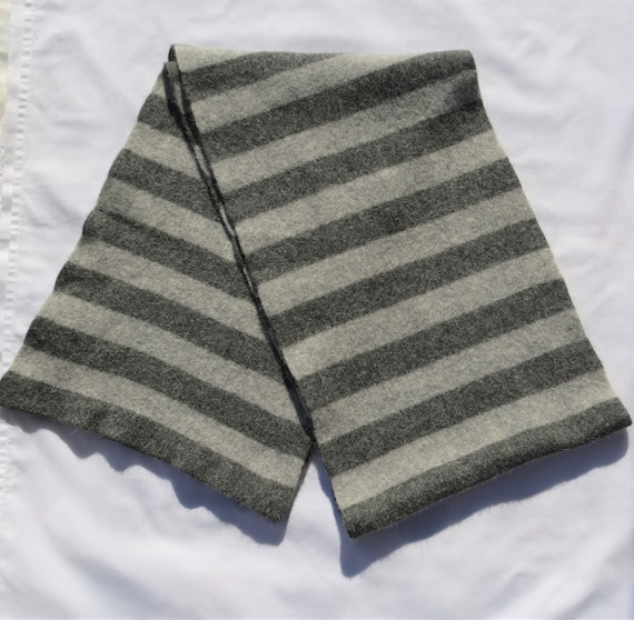 Vintage Wool Men's Scarf Striped Gray Long Wool Wo