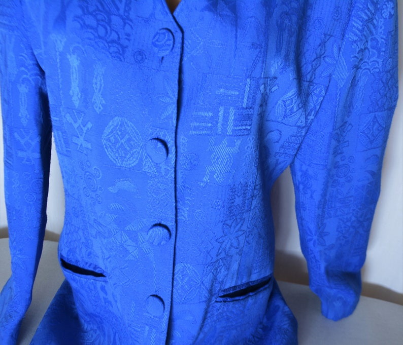Blue Women Jacket Size 3840M Vintage Fully Lined Long Sleeve Spring Jacket Abstract Print 80s German Retro Clothing Buttons Down Blazer