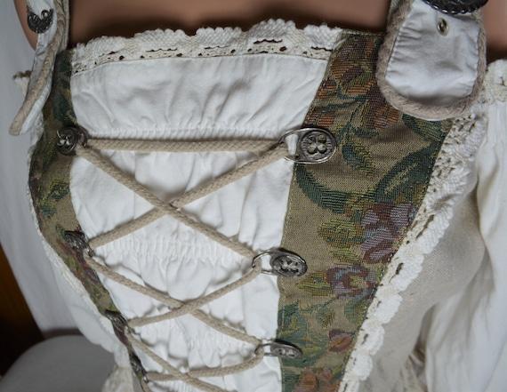 Vintage Dirndl Women Linen Corset Top Size M/40 P… - image 8