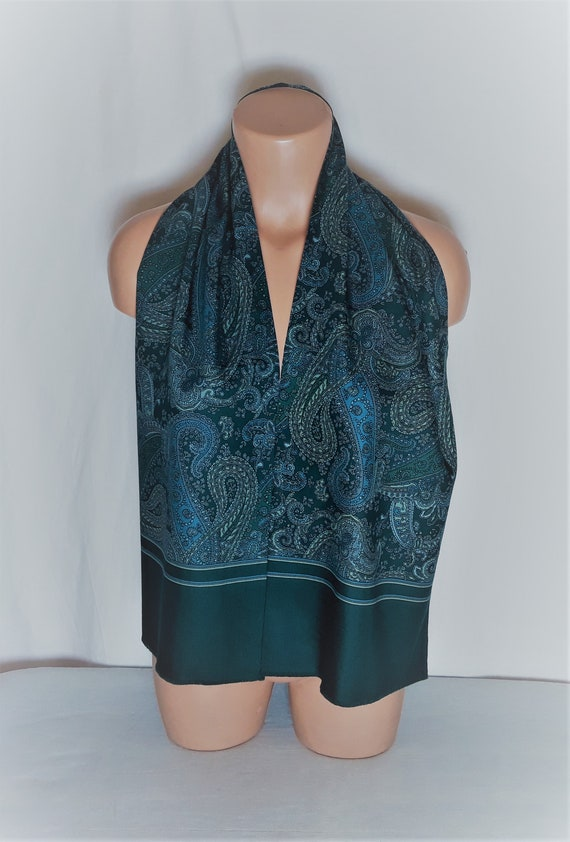 Vintage Wool Men's Long Scarf Paisley Print Green