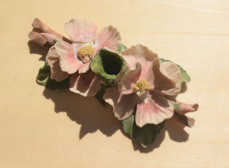 Capodimonte mollica portacandele vintage rosa porcellana fiore etsy