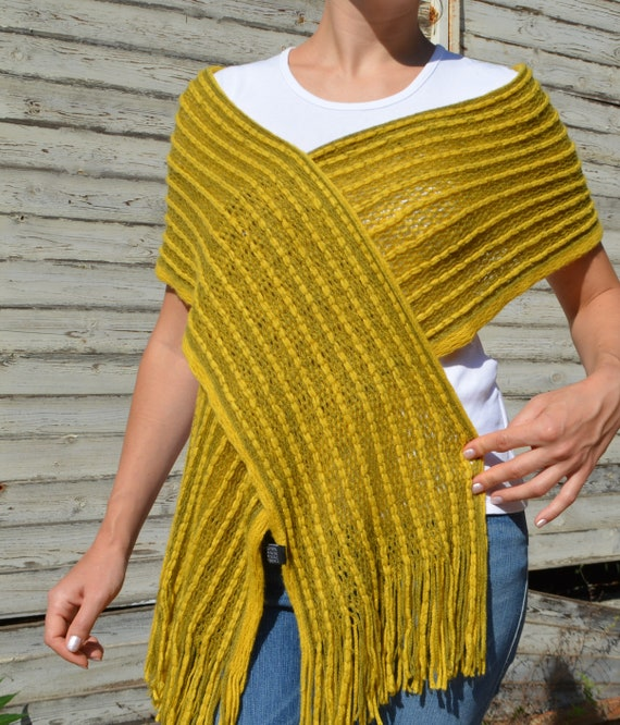 Vintage Wool Women Scarf Yellow Wool Scarf Olive W