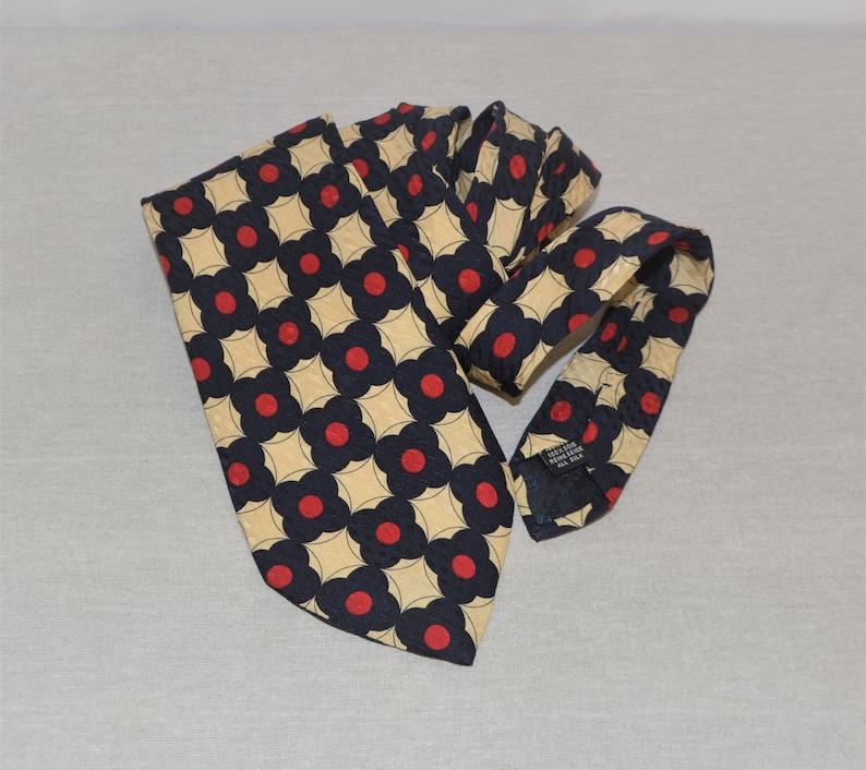 Vintage Gino Rossini Men/'s Silk Tie Red Navy Blue Beige Necktie Floral Print Silk Tie Geometric Print Tie Cravate Krawatte Made in Italy Tie