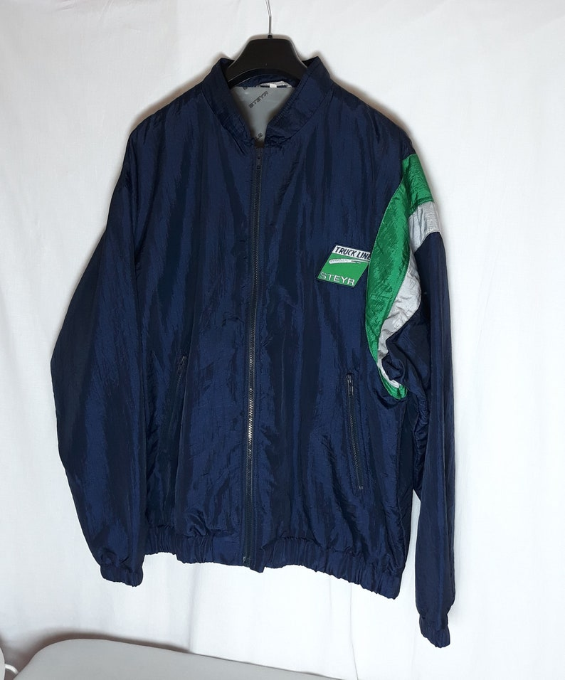 STEYR Track Line Vintage Men/'s Windbreaker Size L Dark Blue Jacket Lightweight Track Sport Jacket 80s 90/'s Retro Nylon Spring Jacket