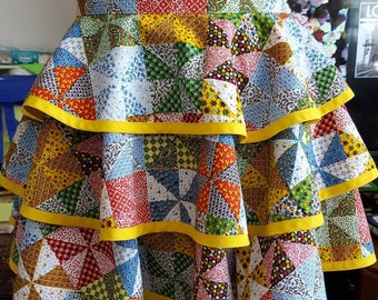Quilted Print 3 Tiered Skirt Apron