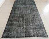 BLACK RUG 4.9 x 9.3 ft. Oushak Rug, Old Vintage Rug, Etsy Rug, Living Room Rug, Old Wool Rug, Vintage Rug, Area Pastel Rug, Turkey Rug 5x9