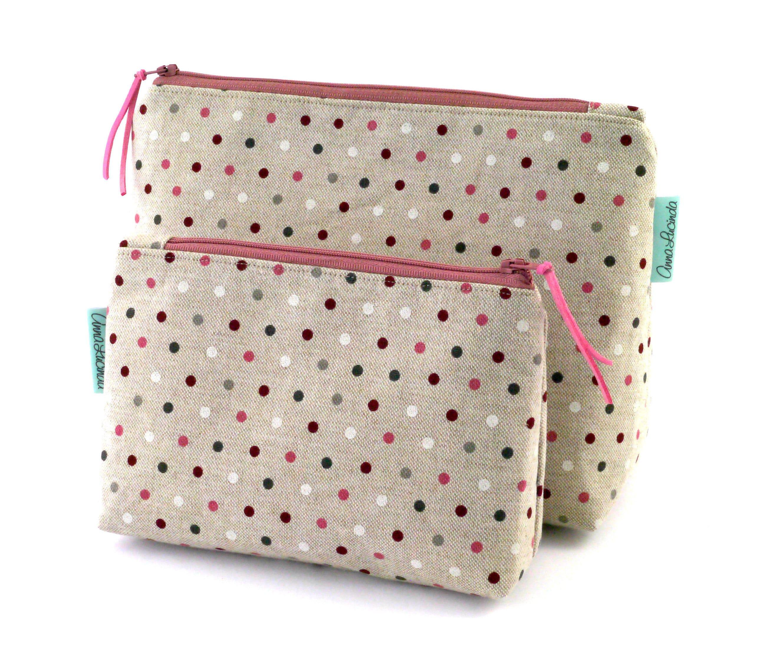 b70431fe2f8f Zipper bag Wash bag Polka dot cosmetic bag Linen Look Pouch