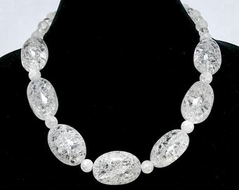 Wilma Flintstone Necklace ~ Real Rocks ~ White Snow Quartz Pebbles ~ Halloween ~ Costume ~ Jewelry