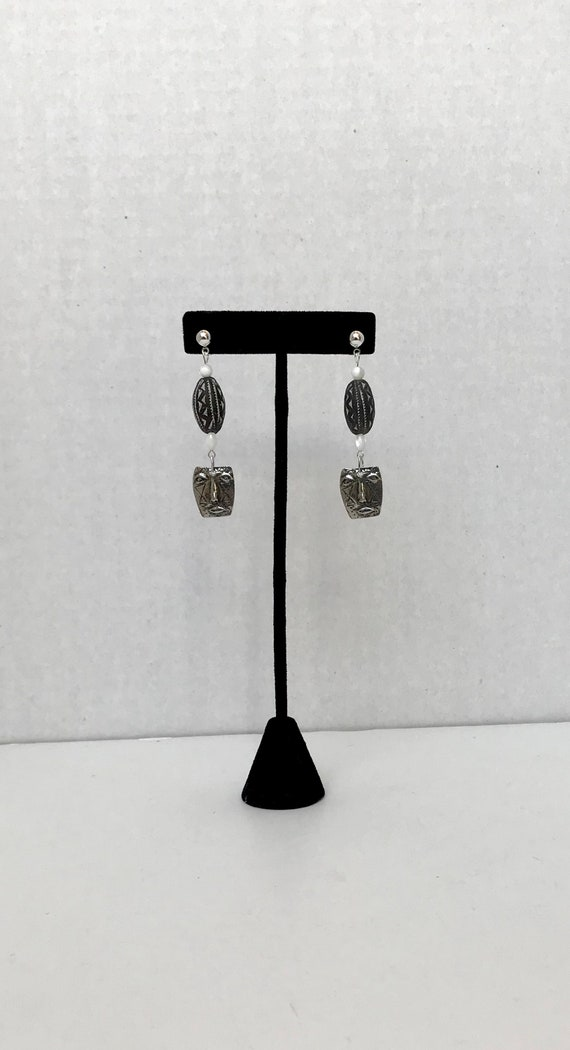 Mother of Pearl and Inviciti Pewter Earrings African Clay Bead