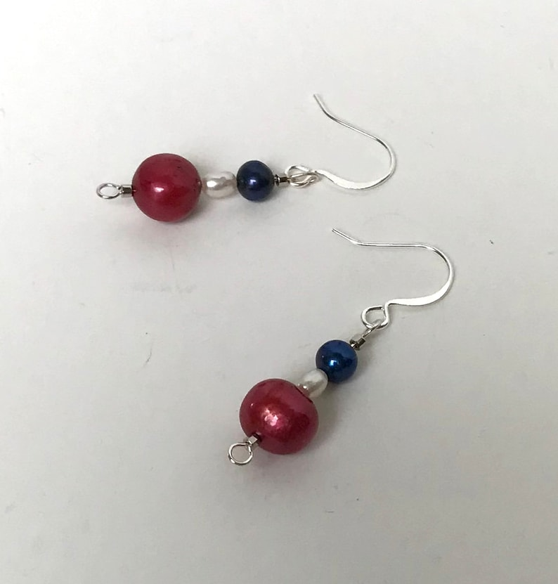 4th of July Pearl White Gold and Silver Earrings!