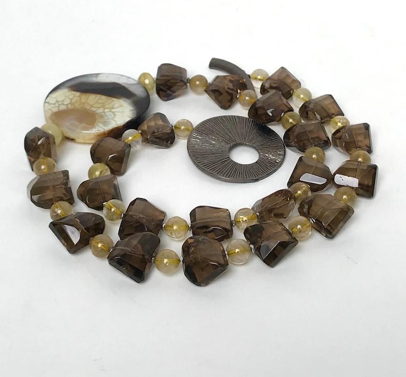 /& Gold Rutilated Quartz Necklace Sunburst Fire Crab Agate Smokey Quartz