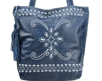 Embroidered tote, blue leather tote, fringes purse, leather bag, shopper leather, computer bag, blue tote, medium blue bag, bohemian bag