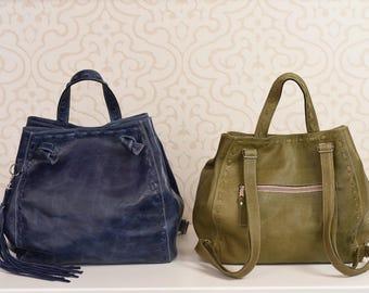 Backpack women, leather backpack, convertible bag, leather backpack, blue bag, rucksacks for women, backpack for her, leather rucksack bag
