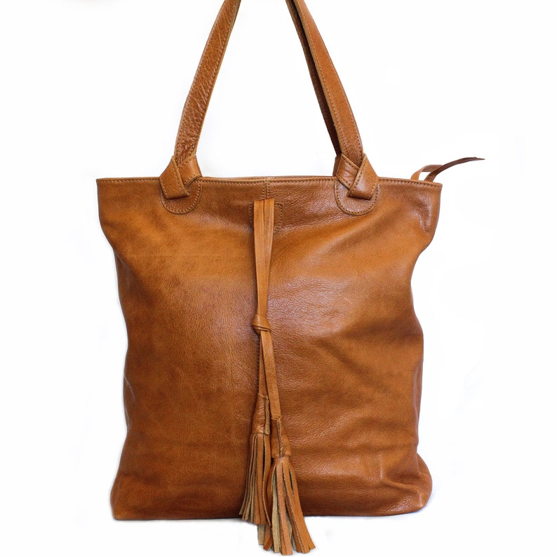 d5ebfe3d8d8 Leather tote bag Shoulder bag Oversized leather tote Caramel brown tote bag  Sac purse Oversized leather bag Leather handbag Tassels bag