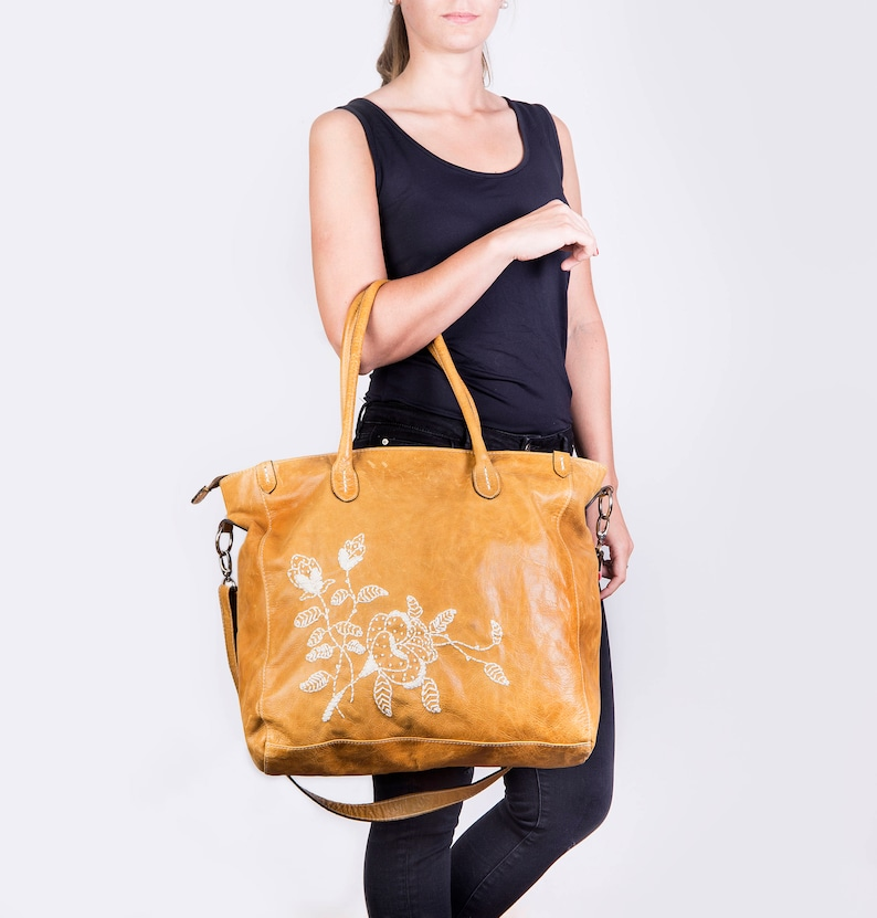 d696ad48f9ed Embroidered large leather tote Leather handbag Leather bag Tan