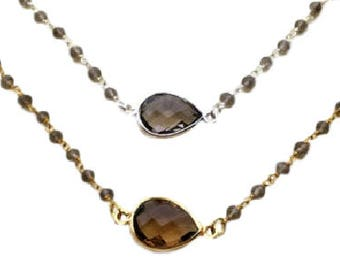 Necklace 925 sterling silver or vermeil (sterling silver 925 gold plated) and smoky quartz