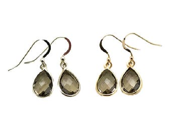 Dangle earrings drop 925 sterling silver or vermeil (sterling silver 925 gold plated) and smoky quartz set