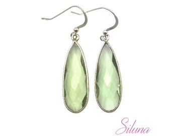 Dangle earrings 925 sterling silver and green amethyst drop