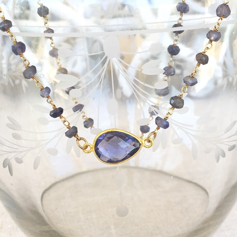 mother/'s day gift Bridesmaid necklace Water sapphire jewelry Iolite necklace in gold plated sterling silver rosary choker necklace