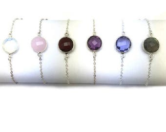 Bracelet in 925 sterling silver and gemstones
