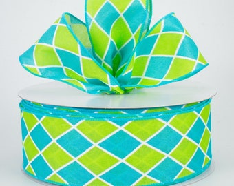2.5 Harlequin Diamond Turquoise and Lime Green Wired Ribbon Wreath and Craft Supplies 5 YARDS Spring and Summer Bow Making Ribbon