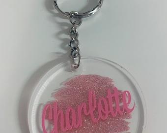 Glittery personalised acrylic keyring