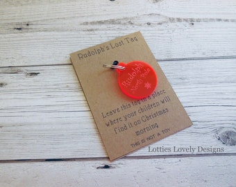 Rudolph Reindeer's lost tag, Christmas stocking filler, Christmas Eve box, Make believe Santa magic, special quote card.