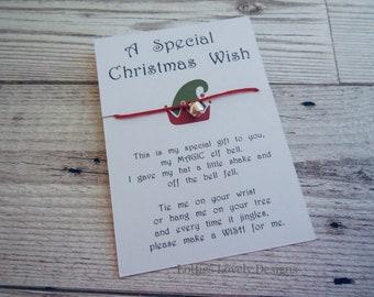 Christmas elf wish bracelet, jingle bell string bracelet, stocking filler, elf arrival gift, Christmas gift, friendship bracelet.