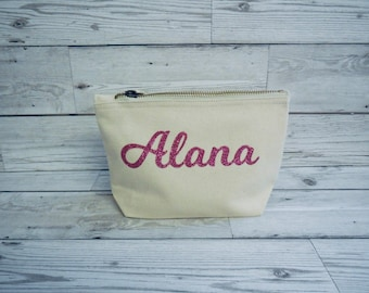 Personalised Canvas bag with zip make up wash trinket bag Accessory Cosmetic Clutch Toiletries Travel Any name initials Wedding Birthday