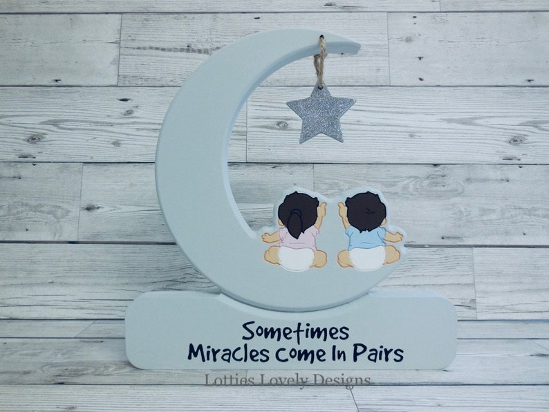 Twins in a moon plaque Star Gazing Moon & hanging star image 0
