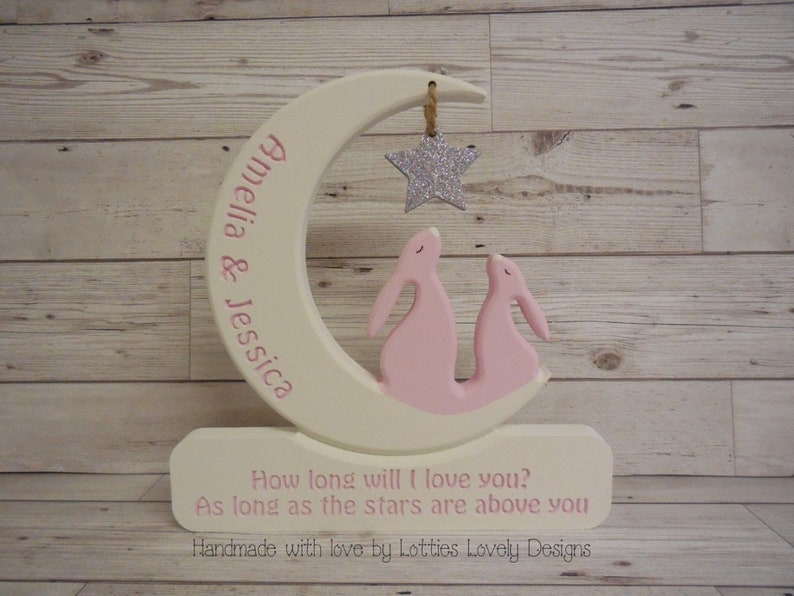 Double Bunny / Twin hare in a moon plaque. Star Gazing Bunny / image 0
