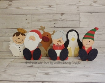 Wooden Freestanding wonky feet Christmas characters, Christmas display, festive home decor, Santa & friends, winter themed characters.