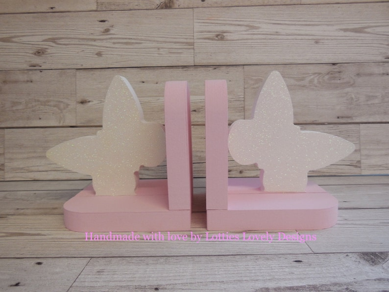 Girls Bookends Hand painted Butterfly bookends Nursery image 0