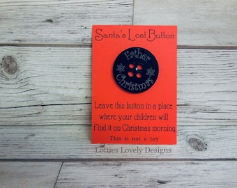 Santa's lost button, Christmas stocking filler, Christmas Eve box, Make believe Santa magic, special quote card.