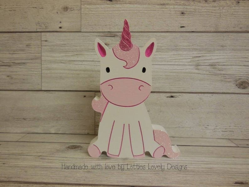 Decorative pretty unicorn ornament for bedroom nursery or any image 0