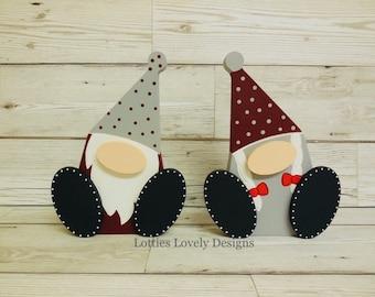Wooden Freestanding wonky feet Christmas gonks, Christmas display, festive home decor, winter themed characters, cute elf, Mr & Mrs