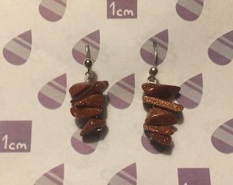 Handmade Goldstone Chip Earrings