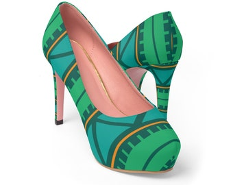 Green Abstract Pattern Women's Platform Heels