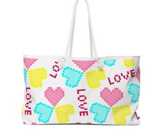 Pixel Hearts Weekender Bag