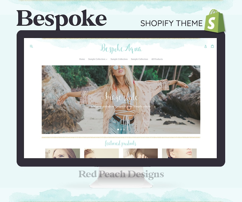 Bespoke Aqua Feminine Shopify Theme  Boho Watercolor Shopify image 1