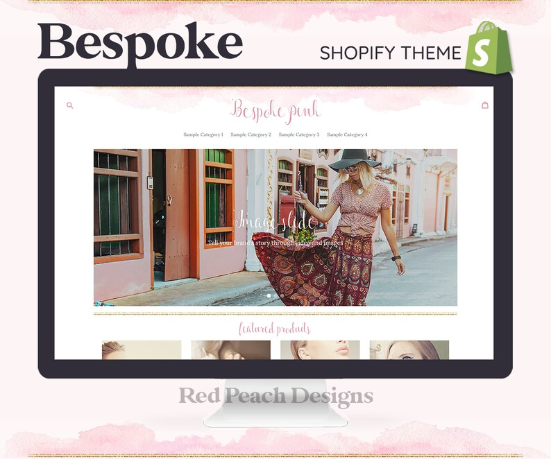 Bespoke Pink Feminine Shopify Theme  Boho Watercolor Shopify image 1
