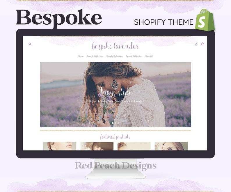 Bespoke Lavender Feminine Shopify Theme  Boho Watercolor image 1