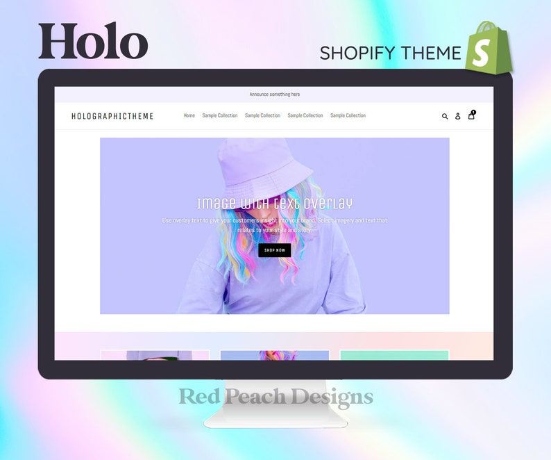 Holographic Pastel Shopify Theme  Kawaii Shopify Theme  image 1