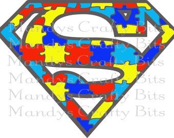 Digital file SVG and PNG  Set of 2 Autism Superman files