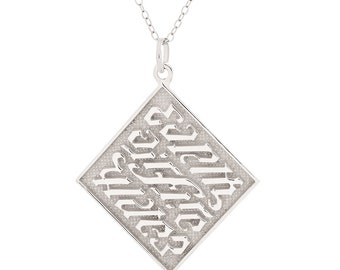 925 Sterling Silver Earth Air Fire Water Palindrome Necklace