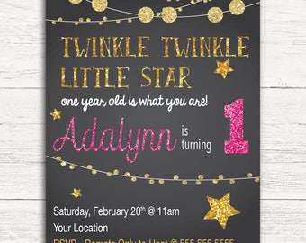 Twinkle Twinkle Birthday Invitation